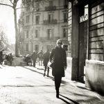 woman in sunglasses walking on the street in Barcelona Spain