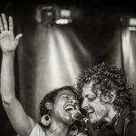 Birds of Chicago band singing black and white photo